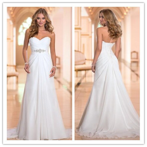 Chiffon Ruched Sweetheart Floor Length A-Line Wedding Dress Featuring Beaded Embellished Belt and Lace-Up Back