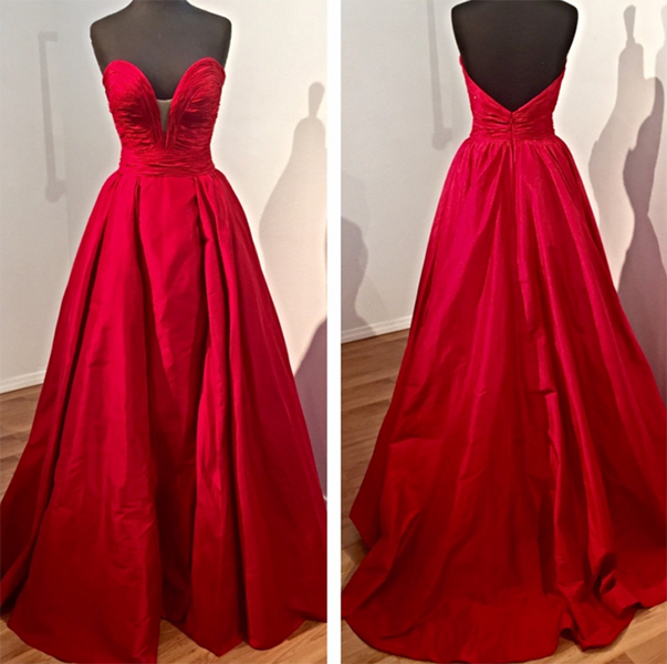 Evening Dress, Elegant Evening Dress, Red Evening Dress, Sweetheart Evening Gown, Open Back Evening Dress, Satin Evening Dress, Sweep Train Evening Dress