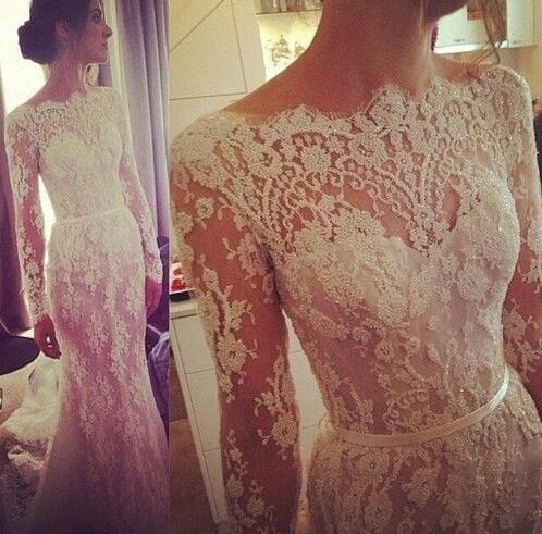 Lace Bateau Neck Long Sleeves Floor Length Trumpet Wedding Dress