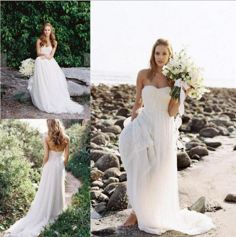 Lace Sweetheart Floor Length Chiffon A-Line Wedding Dress Featuring Sweep Train