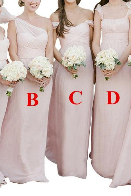 Long Mismatched Chiffon A-Line Bridesmaid Dress Wedding Party Gown