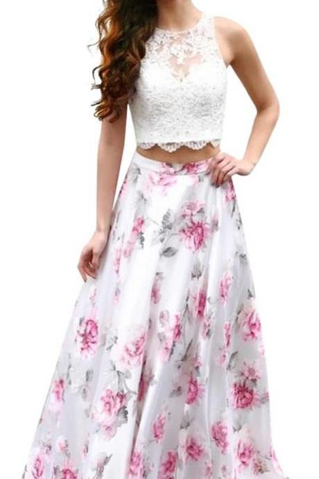 Long Two Piece A-Line Lace Beaded Floral Print Sleeveless Prom Dress
