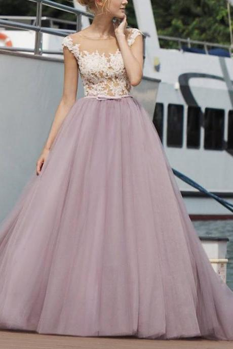 Long A-Line Cap Sleeve Backless Lace Prom Evening Dress