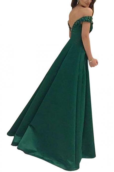 Charming Crystal Floor-length Off-the-shoulder A-Line Prom Evening Dress