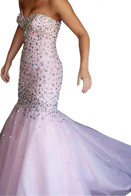 Sweetheart Strapless Crystal Floor-length Lace Up Mermaid Prom Evening Dress