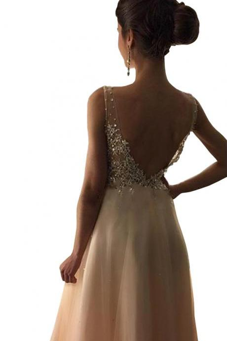 Enticing Long Deep V-neck Crystal Backless A-Line Prom Evening Gown