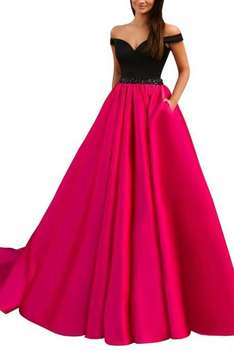Elegant Long Off-the-shoulder Beading Prom Dress A-Line Evening Gown