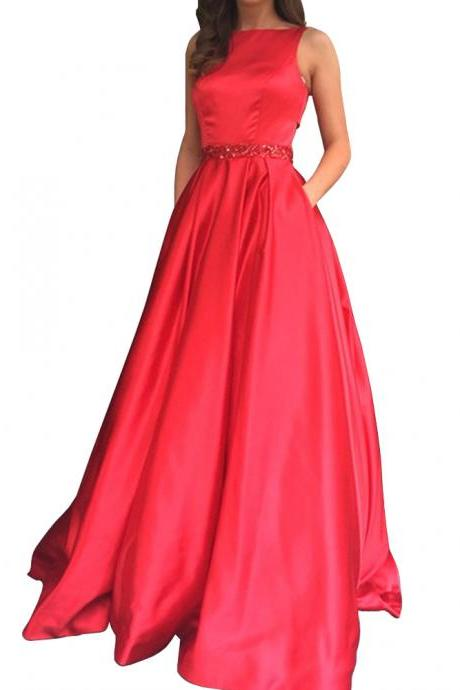 Elegant Long Sleeveless Open Back Beaded A-Line Prom Dress With Pockets