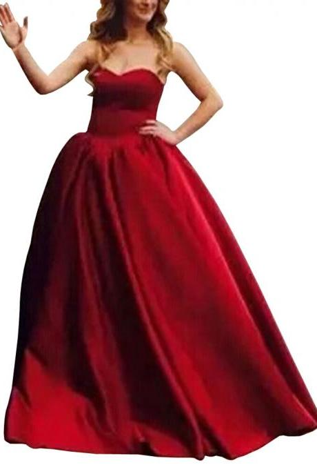 Long Strapless Ball Gown Prom Dress Sweetheart Princess Evening Gown