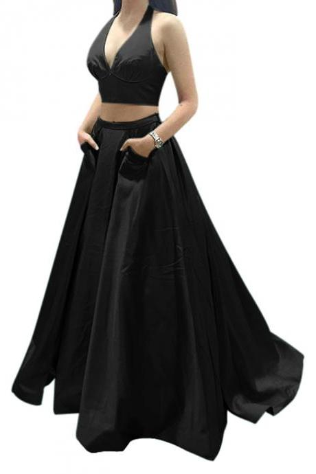 Long Halter Low Back Satin Two-Piece Prom Evening Dress with Pockets