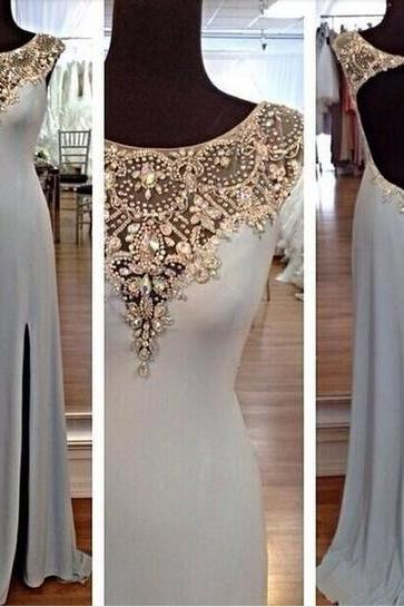 Backless Prom Dresses, Beading Prom Dresses, Scoop Prom Dresses, A-Line Prom Dresses, Floor-Length Prom Dresses, Sexy Prom Dresses, Blue Prom Dresses, Split Side Prom Dresses, Evening Dresses, Party Dresses, Custom Dresses