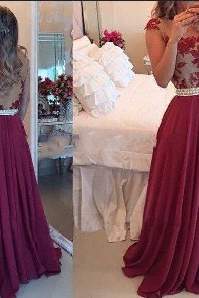 Chiffon Prom Dresses, Burgundy Dresses, Long Dresses, Applique Evening Dresses, Party Dresses, Floor-Length Dresses, Custom Dresses