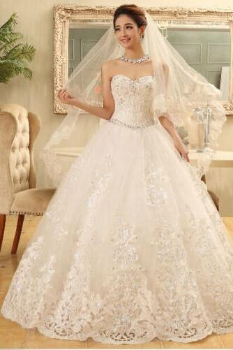 Custom Made White Sweetheart Neckline Lace A-Line Wedding Ball Gown with Crystal Beading