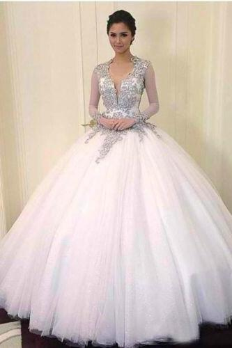Custom Made White Open Back Long Sleeve Tulle Wedding Ball Gown with Rhinestone Embellished Applique