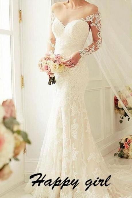 Lace Off-The-Shoulder Plunge V Long Sleeves Floor Length Mermaid Wedding Dress Featuring Illusion Open Back and Train