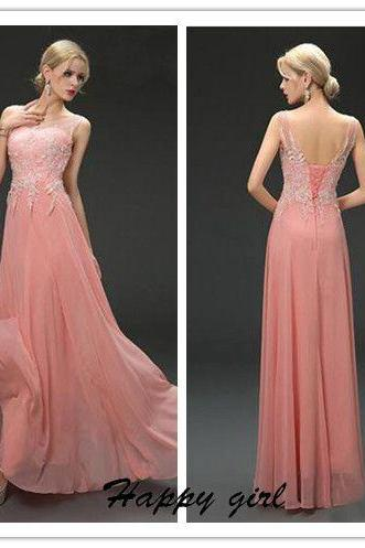 Prom Dress, Modern Prom Dress, V-Neck Prom Dress, Appliques Prom Dress, Sequins Prom Dress, Lace-up Prom Dress, Pink Prom Dress, Sleeveless Prom Dress, Floor-Length Prom Dress