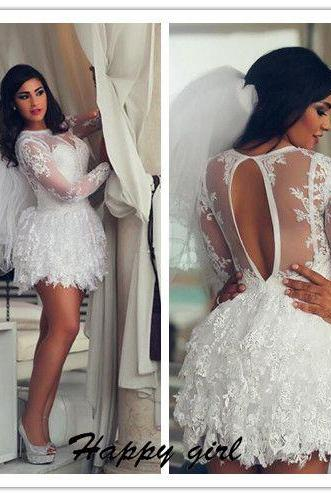 Wedding Dress, Mini Wedding Dress, Long Sleeve Wedding Dress, Lace Wedding Dress, 2016 Wedding Dress, Scoop Wedding Dress, A-Line Wedding Dress, Sexy Bridal Gowns