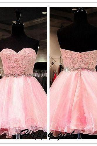 Homecoming Dress, Pink Homecoming Dress, Puffy Homecoming Dress, Organza Homecoming Dress, Sweetheart Homecoming Dress, 2016 Homecoming Dress with Crystal, Belt School Dancing Party Dress,Hot Sale Homecoming Dress