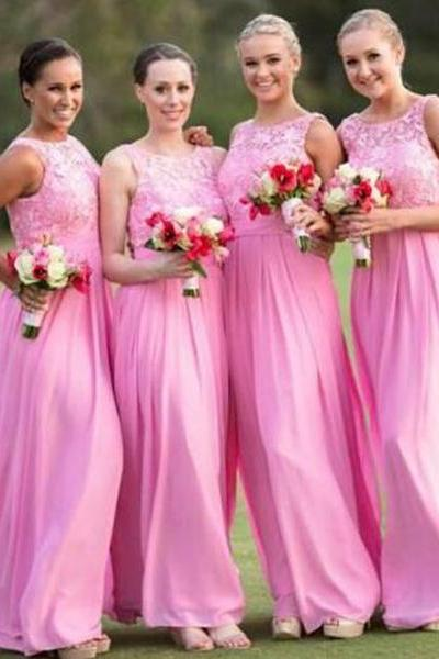 Custom Made Pink Lace and Chiffon Sleeveless Long Bridesmaid Dress