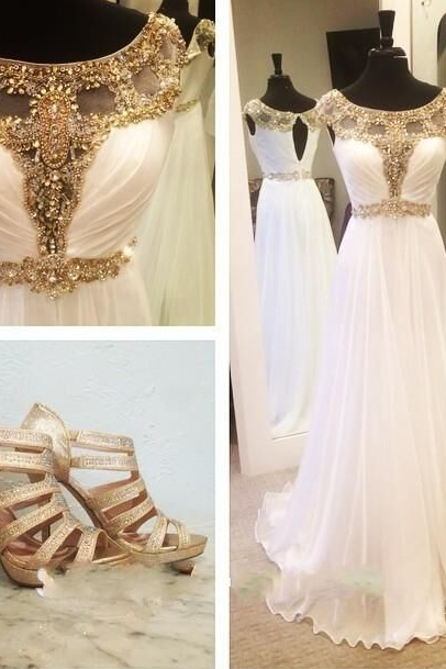 Prom Dress, Gold Prom Dress, Crystals Prom Dress, 2016 Prom Dress, White Prom Dress, Chiffon Prom Dress, Beaded Prom Dress, A-line Prom Gown