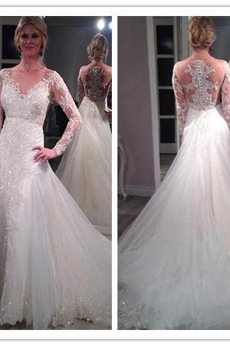 Lace Appliques Plunge V Long Mesh Sleeves Floor Length Tulle Wedding Gown Featuring Train
