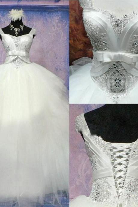 Wedding Dress, Luxurious Wedding Dress, Crystal Wedding Dress, Ball Gown Wedding Dress, Princess Dress with Beadings, Tulle Wedding Dress, Bowknot Wedding Dress, Lace-Up Wedding Gown, Hot Sale Wedding Dress, Custom Made Wedding Dress