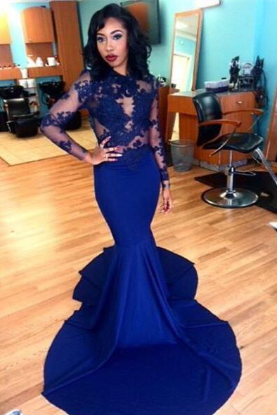 Evening dress, Royal Blue Evening dress, Long Sleeve Evening dress, Mermaid Evening Gown, Sexy Evening dress, Court Train Evening dress, Lace Evening dress, Party Dress, Custom Evening dress