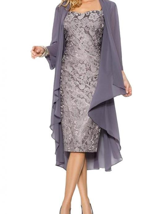 Elegant Cap Sleeves Sweetheart Lace Zipper Mother of the Bride/Groom Dress with Chiffon Jacket