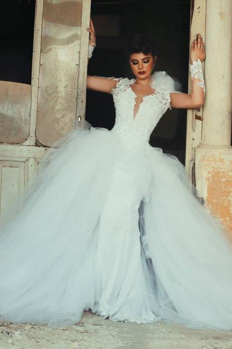 Wedding Dress, Detachable Train Wedding Dress, Open Back Wedding Dress, Long Sleeve Wedding Dress, Ball Gown Wedding Dress, Sexy Wedding Dress, Bridal Gown