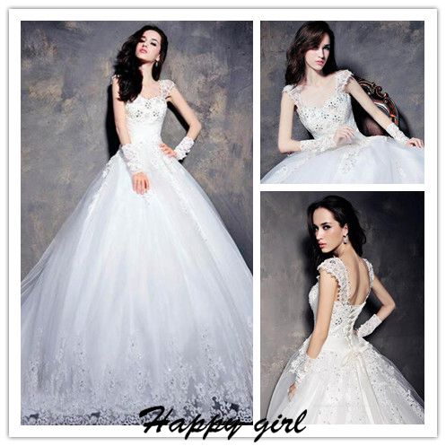 Beaded Embellished and Lace Appliques Sweetheart Cap Sleeves Floor Length Tulle Wedding Gown Featuring Train