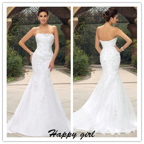 Lace Appliqués Strapless Straight-Across Floor Length Mermaid Wedding Dress Featuring Lace-Up Back