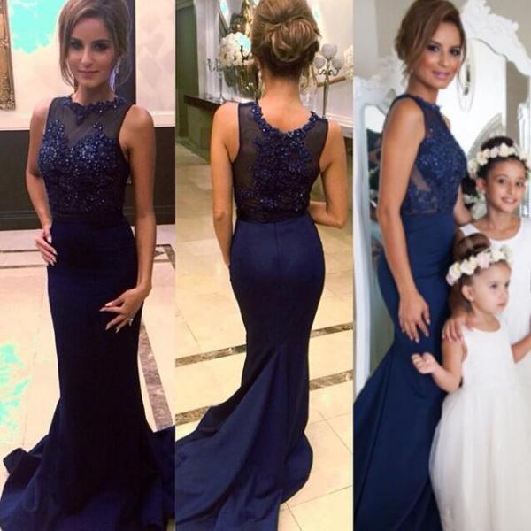 Prom Dress, Memraid Prom Dress, Navy Blue Prom Dress, Party Dress, Beading Prom Dress, 2016 Prom Dress with Lace, Hot Sale Prom Dress, Custom Dress
